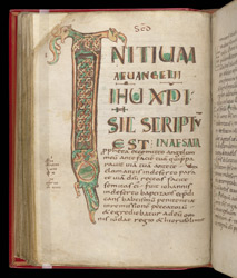 Decorated Initial At The Start Of Mark, In The Four Gospels